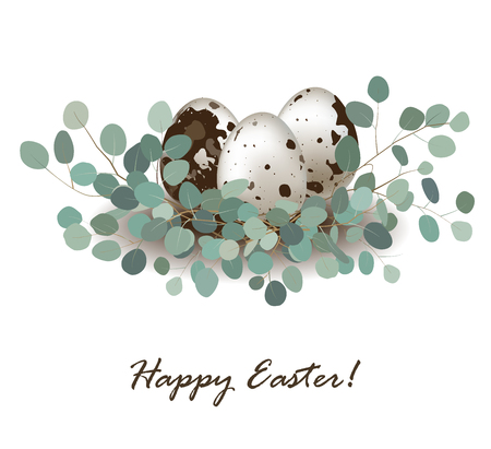 Stylish card background with easter quail eggs and eucalyptus leaves. Easter greeting banner, place for text. Ilustração