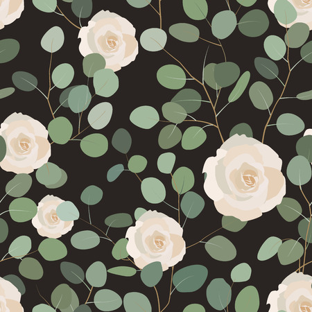 A Seamless pattern with eucalyptus and roses. Elegant hand painted floral ornament. Vector illustration