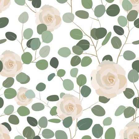 Seamless pattern with eucalyptus and roses. Elegant hand painted floral ornament. Vector illustration, white background