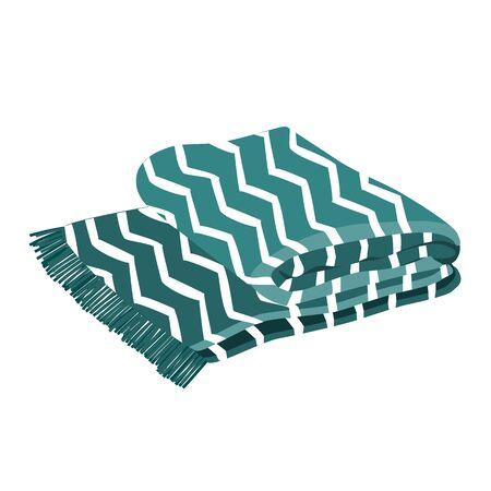 Cálida tela escocesa azul y blanca con adornos de zig zag de moda. Fondo blanco
