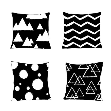 Realistic pillow models with different geometric prints and patterns in black and white colors. Apartment interior design elements.