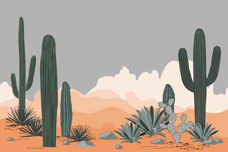 Mexico pattern with opuntia, agave, and saguaro cacti. Mountains background. Place for text