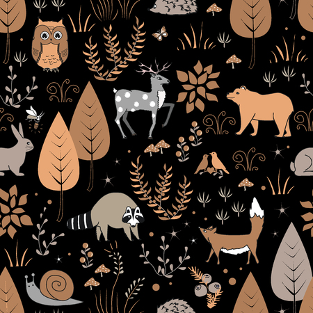 Cute forest seamless pattern with raccoon and other animals in childish cartoon style. Vector illustration can be used for wallpaper, pattern fills, web page background, print on fabric or paper