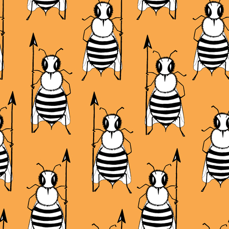 Seamless pattern with angry killer bees on the orange background. Soldier bee with pike. Killer bees army. Vector Çizim