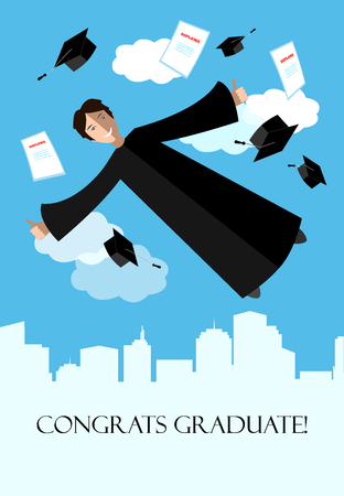 Happy graduate student in the sky above the city. Flying graduate student in academic clothing. Education, university background.