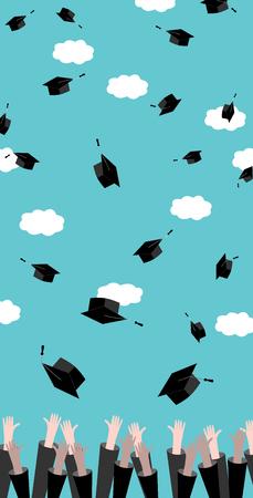 Graduates hands throwing Graduation Hats in the Air. Celebration Education Graduate Student Success. Flat design, vector illustration.