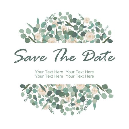 Save the Date card with white rose flowers and eucalyptus frame. Greeting, wedding invite template. Frame border with place for text. Vector illustration
