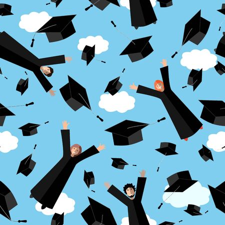 Happy Graduates flying in the air with graduation hats. Jumping Students and Graduation Caps in the sky. Vector seamless pattern. Stock Illustratie