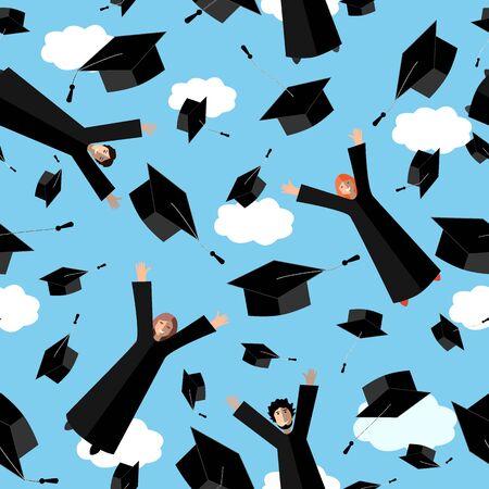 Glückliche Absolventen, die mit Abschlusshüten in der Luft fliegen. Springende Studenten und Abschlusskappen am Himmel. Vektor nahtloses Muster. Vektorgrafik