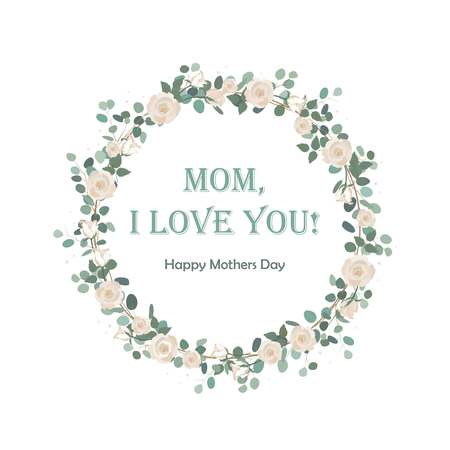 Happy Mother's Day beautiful card with floral Eucalyptus wreath. Background for Mother's day celebration. Greeting, wedding invite template. Round frame border Standard-Bild - 100377446