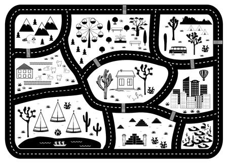 Avonturenkaart met wegen, bergen en bossen. Kinderen spelen tapijt