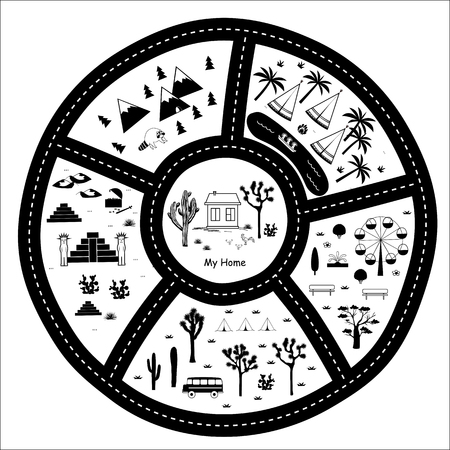 Road, Mountains and Woods Adventure Map. Kids round play carpet or poster with native americans tribal elements. Trendy black and white Scandinavian Style. Vector illustration