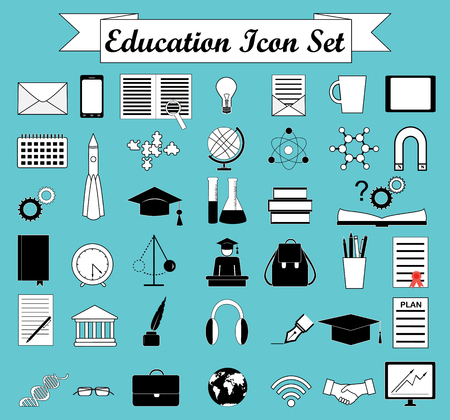 Education icons. Science icons set