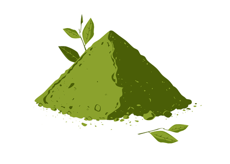 Pila di polvere di tè matcha con illustrazione di foglie di tè.