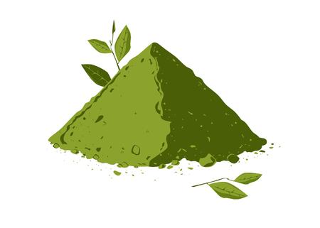 Stapel von Matcha-Teepulver mit Teeblattillustration.