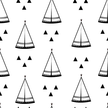 Teepee, native american tent seamless pattern. Wigwams and abstract triangles. Vector illustration, black and white