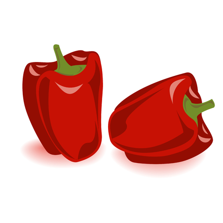 Two red bell pepper vegetables set. Vector illustration, cartoon and tasty capsium, isolated on white. 矢量图像