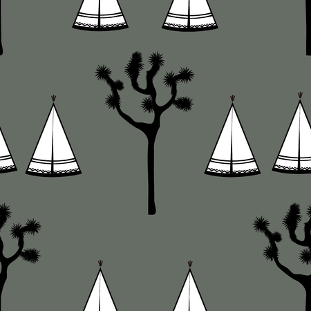 Indian tents and joshua tree on white background. Cute design for textile, wallpapers, kids industry. Vector illustration, hand drawn seamless pattern