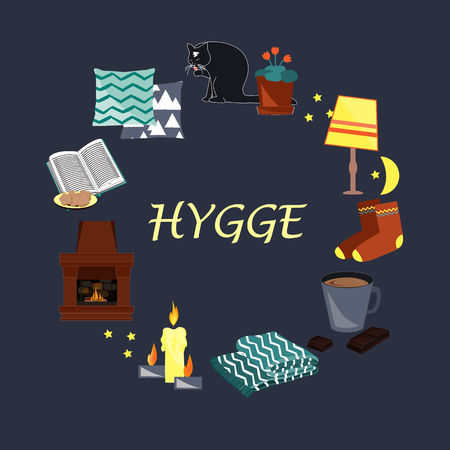 Vector illustration with Hygge text and cozy home things like candles, socks, wrap, cocoa, fireplace. Danish living concept. Greeting card template, hand drawn style.