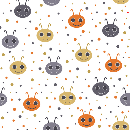 Cute seamless pattern with happy smiling beetles. Vector illustration. Kids background
