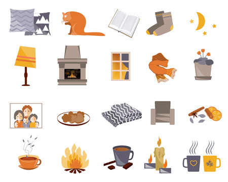 Time to Hygge. Vector flat icons set