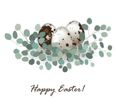 Easter card with quail eggs Ilustração