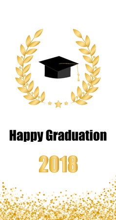 Graduate card. Class of 2018. Illustration
