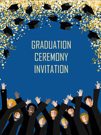 Graduation poster with happy graduates Иллюстрация