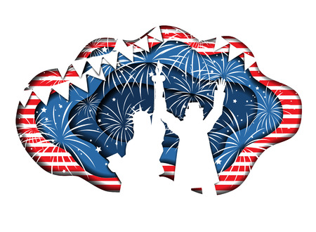 Paper cut banner for Independence Day July 4 USA