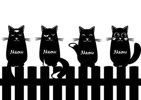 Cute seamless pattern background with cats Illustration