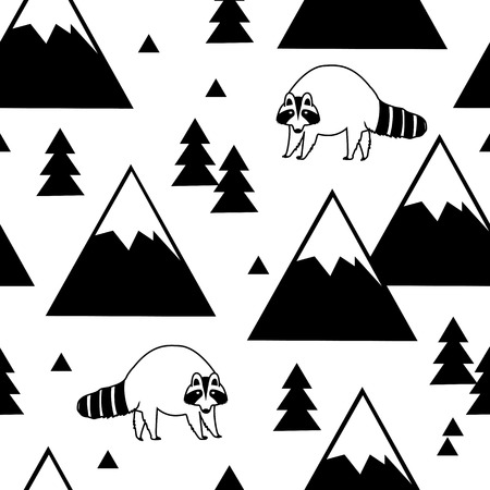 Black and white seamless pattern of a raccoon, mountains and forests. Vector illustration