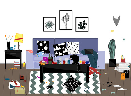 When the party is over. Morning messy male room after party. Funny vector illustration. Home of the young man or student