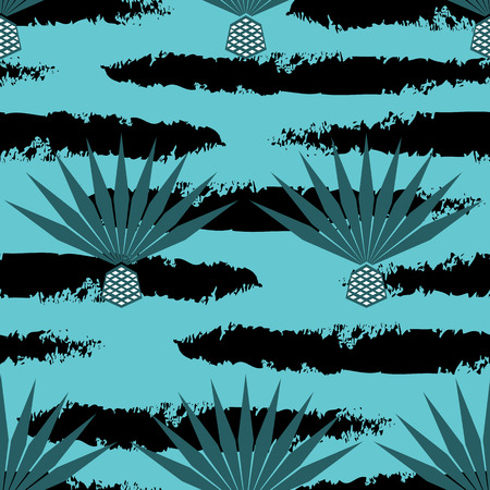 Blue agave vector seamless pattern