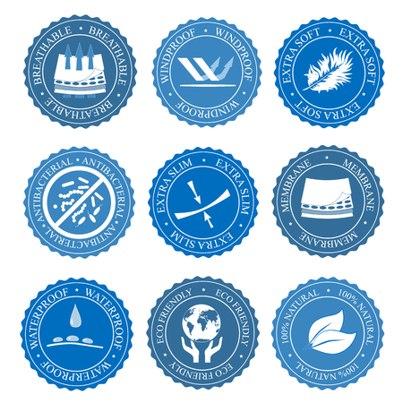 Icons set of fabric features. Vector collection