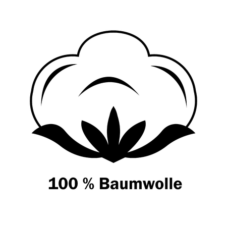 Cotton boll or flower. Line art icon for apps and websites. 100% natural material sign with flower vector image. Black and white