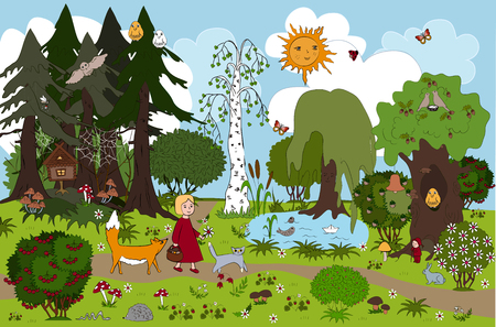 Fairy forest of childish dream. Vector illustration. Girl and her friends cat and fox. Little girl goes out of wild magic forest after gathering mushrooms. Kids background for mats and other design.