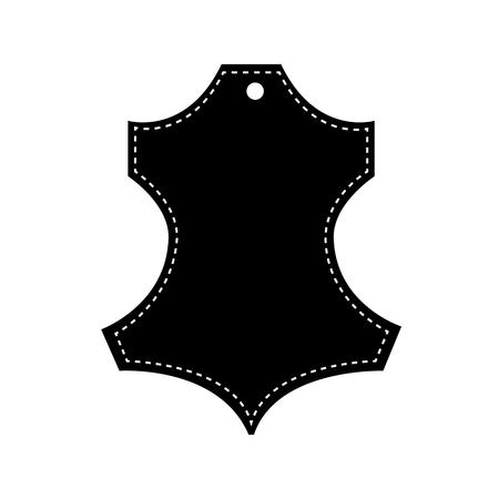 Icón de cuero natural. Ilustración de vector, blanco y negro. Signo de tela