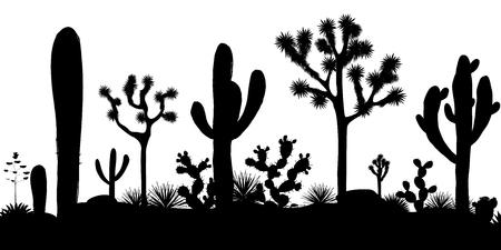 Modèle sans couture du désert avec des silhouettes d'arbres joshua, opuntia et cactus saguaro. Fond noir et blanc. Illustration vectorielle