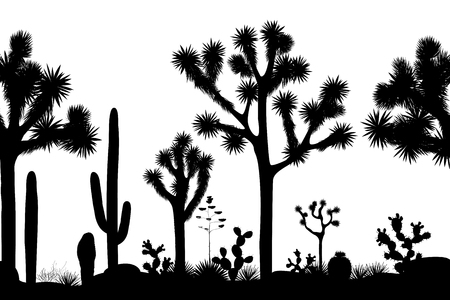Desert seamless pattern with silhouettes of joshua trees, opuntia, and saguaro cacti. Black and white background. Vector illustration