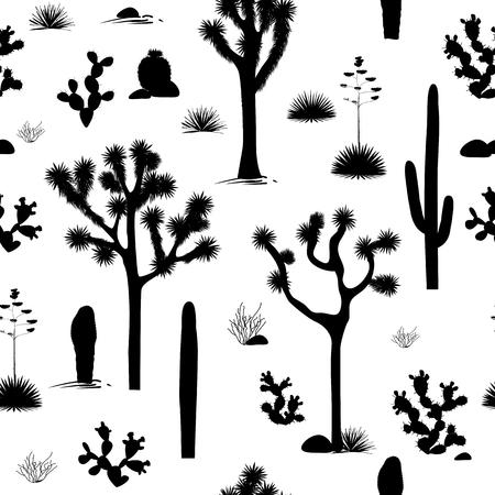 Stylish seamless pattern with silhouettes of joshua trees, opuntia, and saguaro cacti. Black and white desert background. Vector illustration