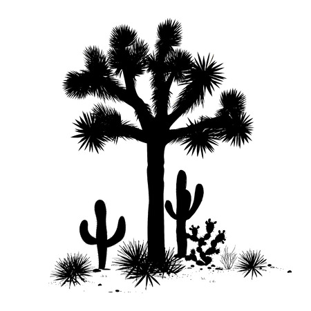 Outline landscape with Joshua tree, agaves, and prickly pear silhouettes. Vector illustration. Stock Illustratie