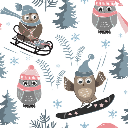 Vector seamless pattern with cute sport owls and fir trees. Christmass background for textile prints, wrapping paper, and greeting cards