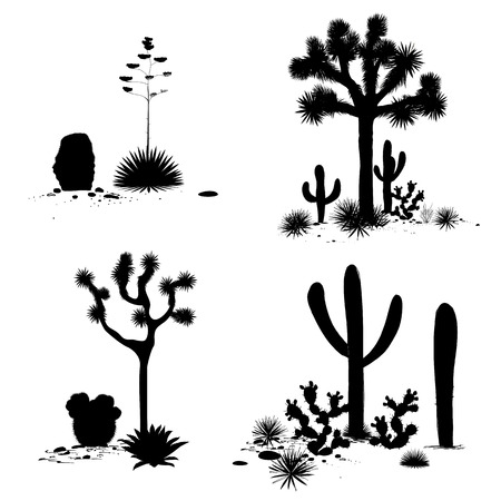 Cacti outline landscape groups. Vector set with silhouettes of saguaro, prickly pear, and agave. Black and white banner, place for text