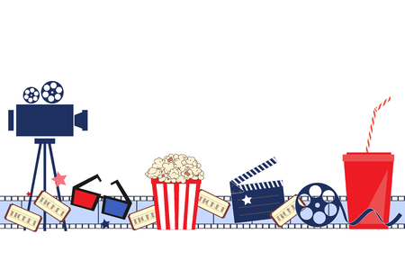 Cinema event background. Vector seamless pattern Flat movie background with cinema attributes. Film strip, camera, reel, masks, popcorn, and 3D glasses Фото со стока - 110261897