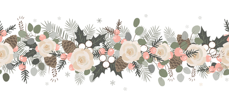 Christmas seamless garland. Vector hand drawn illustration. Ilex, eucalyptus, pine cones, roses, fir tree. Traditional xmas garland. Great for greeting card, holiday banner