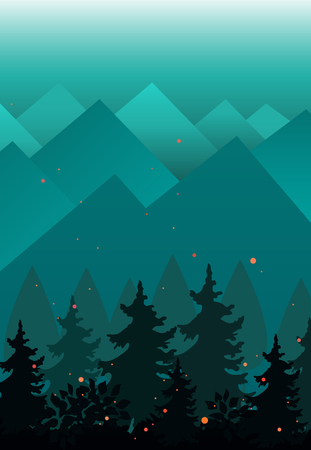 Vector Background with Mountains ranges and fir trees silhouettes. Evening or fairy night landscape