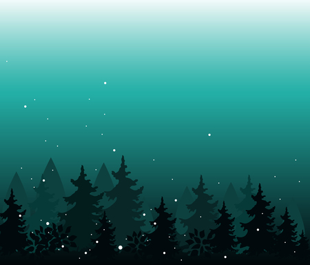 Abstract background with trees. Forest wilderness and magic landscape. Template for your design works. Hand drawn vector illustration.  イラスト・ベクター素材