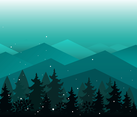 Vector Mountains ranges and fir trees silhouettes. Evening or fairy night landscape. Abstract background with magic landscape. Template for your design works.