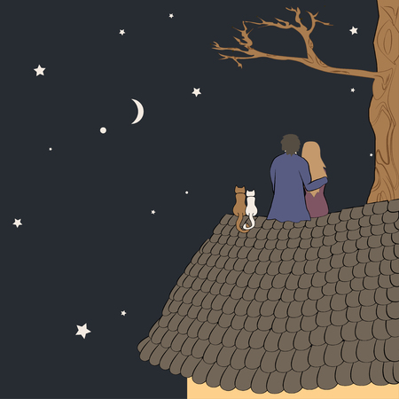 Hand drawn vector illustration of loving couple sitting on roof, looking at moon under stars in night sky with text place. Good for memory or Valentine card design