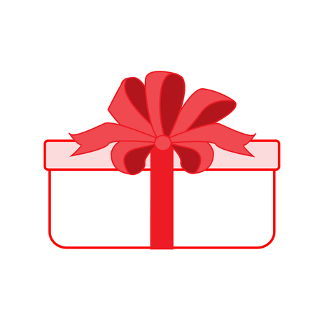 Gift box with red ribbon. Present box. Vector icon. Flat style Archivio Fotografico - 127678995